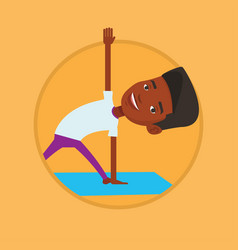 man practicing yoga triangle pose vector image vector image