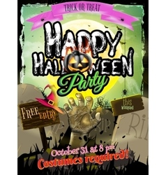 Halloween Zombie Party Poster EPS 10 vector image vector image