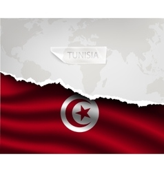 paper with hole and shadows TUNISIA flag vector image vector image