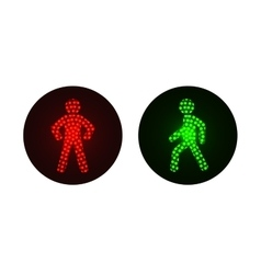 pedestrian traffic lights red and green vector image vector image