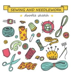 Seamless doodle sewing and needlework set vector