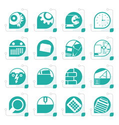stylized computer mobile phone and internet icons vector image vector image