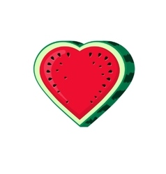 Watermelon slice icon isolated heart shaped vector image vector image
