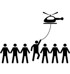 A person is picked by helicopter vector image