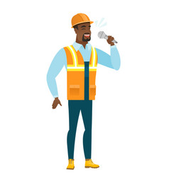 african-american builder singing to the microphone vector image