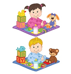 baby boy and girl sit on carpet with toys vector image vector image