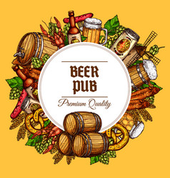 beer pub barrels mugs and snacks poster vector image vector image