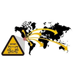 Risk of global epidemic of swine flu vector image