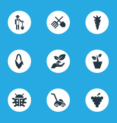 set of simple gardening icons elements root rescue vector image vector image