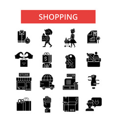 shopping thin line icons linear vector image