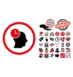 Time Thinking Flat Icon with Bonus vector image vector image