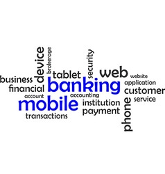 word cloud mobile banking vector image