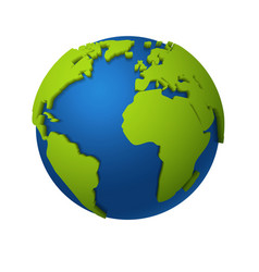 3d globe round world map with green vector image
