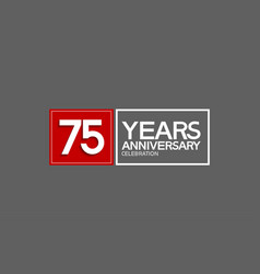 75 years anniversary in square with white and red vector