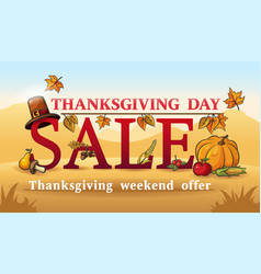 advertising banner for thanksgiving autumn sale vector image