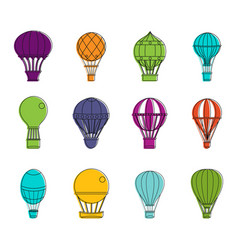 air ballon icon set color outline style vector image