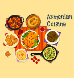 Armenian cuisine icon of meat dinner with dessert vector