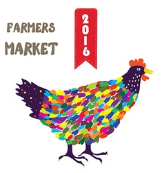 Banner for the farmers product with hen funny vector image