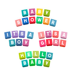bashower lettering on colorful toy bricks vector image