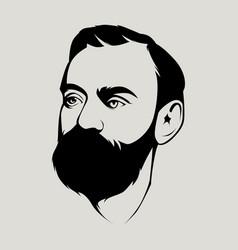 Bearded man line art vector