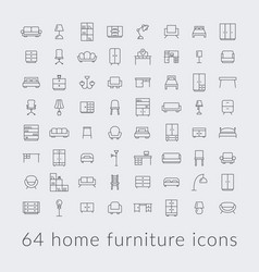 big collection of home furniture icons vector image