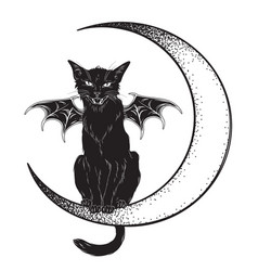black cat with bat wings sitting on crescent vector image