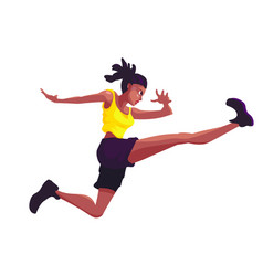Black woman in a yellow jersey jumping against a vector