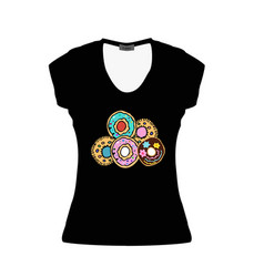 black women t-shirt with multi-colored donuts vector image
