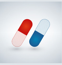 Blue and red capsule painkillers antibiotics vector