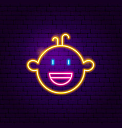 boy face neon sign vector image
