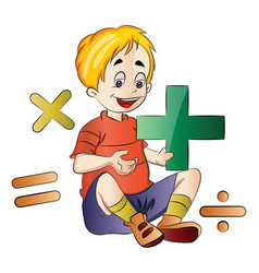 Boy learning math vector