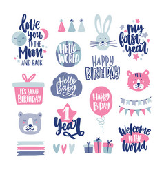 Bundle of childish lettering handwritten with vector