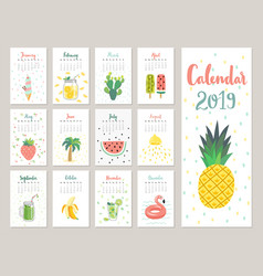 calendar 2019 cute monthly calendar with vector image