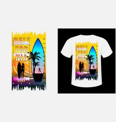 California surf print t-shirt vector