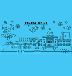 Canada regina winter holidays skyline merry vector
