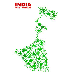 Cannabis leaves collage west bengal state map vector