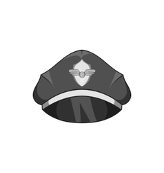 Cap pilot icon black monochrome style vector image