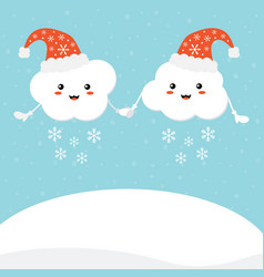 Cartoon cloud characters in santa hats vector