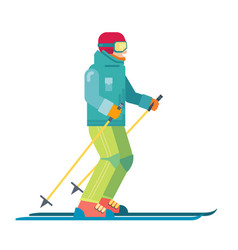 Cartoon skier isolated skiing sportsman character vector