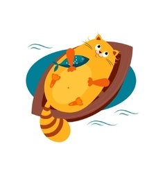Cat on a Boat Hugging Fish vector image