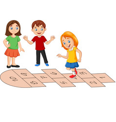 children playing hopscotch on white background vector image