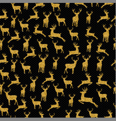 christmas gold glitter deer xmas seamless pattern vector image
