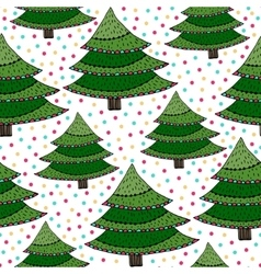 Christmas trees seamless pattern Green vector