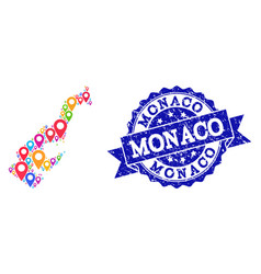 Collage map of monaco with map pointers and vector