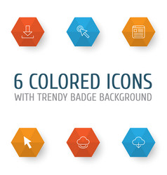 connection icons set collection of cursor mouse vector image