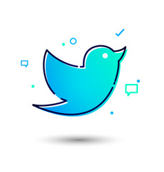 Cool and modern social network twitter bird icon vector