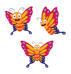 cute butterfly cartoon collection set vector image
