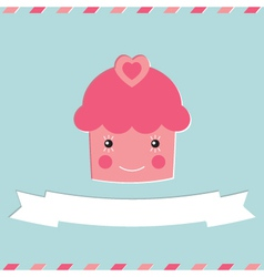 Cute cupcake valentines day card vector