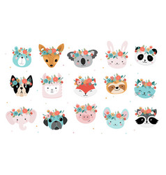 Cute foxes heads with flower crown vector