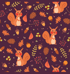 cute squirrels in forest seamless pattern vector image